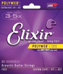 Elixir 11025 Custom Light stygos akustinei gitarai