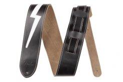 Fender 2,5 inch Leather Lightning Bolt BL diržas gitarai