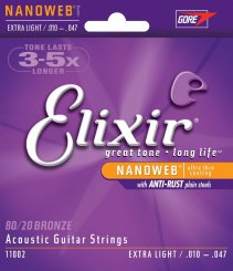 Elixir 11002 Extra Light stygos akustinei gitarai